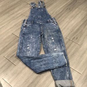 Aeropostale Distressed Scratched Straight Overalls